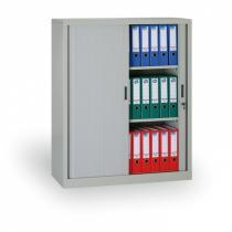 Kovová skříň se žaluziovými dveřmi, 1200x1000x450 mm, šedá