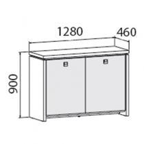 Skříň Assist dvoudveřová - prosklená, 1280 x 460 x 900 mm, přír. sv. dub