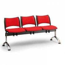 Čalouněná lavice do čekáren SMART, 3-sedák, červená, chromované nohy