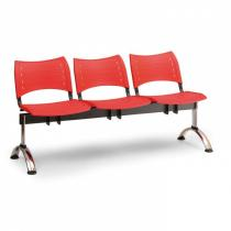 Plastová lavice do čekáren VISIO, 3-sedák, červená, chromované nohy