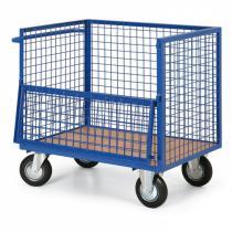 Plošinový vozík s drátěnými stěnami