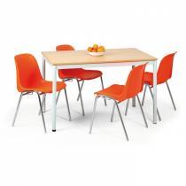Stůl do jídelny - kulaté nohy, světlešedá konstrukce, 800x800 mm, buk