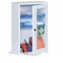 Kovové nástěnné lékárničky prosklené, 46x30x14 cm, bez náplně