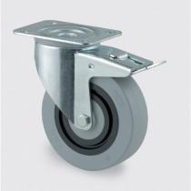 Přístrojové kolo se sníženou hlučností, pryžové, 100 mm, otočné s brzdou