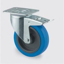 Transportní kolo s modrým běhounem, 100 mm, otočné s brzdou