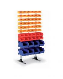 Kovový stojan s plastovými boxy, 56 boxů