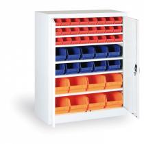 Skříň s plastovými boxy 1150x920x400 mm, 16xA/12xB/8xC, šedá/modré dveře