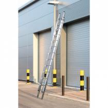 Hliníkový dvoudílný výsuvný víceúčelový žebřík, 2x13 příček, 6,64 m