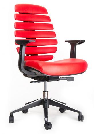 Kancelářská židle Node Kancelářská židle FISH BONES černý plast, červená kůže