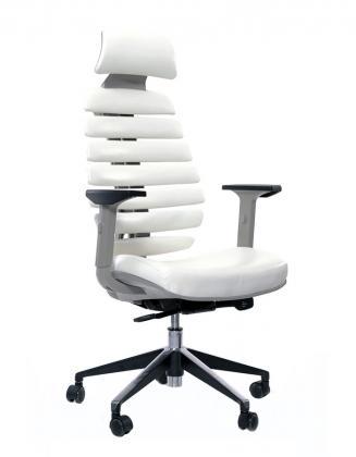 Kancelářská židle Node Kancelářská židle FISH BONES PDH, šedý plast, bílá koženka