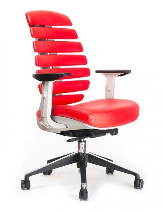 Kancelářská židle Node Kancelářská židle FISH BONES šedý plast, červená kůže
