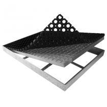 Kovová rohož ze svařovaných podlahových roštů s gumou s pracnami Galva - 151,5 x 60 x 6 cm