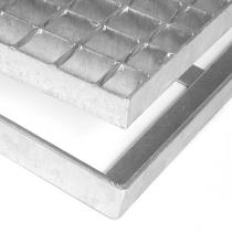 Kovová rohož ze svařovaných podlahových roštů bez gumy s pracnami Galva - 151,5 x 43 x 3,5 cm