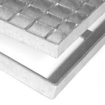 Kovová rohož ze svařovaných podlahových roštů bez gumy s pracnami Galva - 151,5 x 101,5 x 3,5 cm
