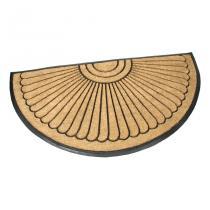 Gumová kokosová vstupní půlkruhová rohož Flower - 180 x 90 x 2,2 cm
