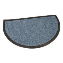 Modrá textilní vstupní půlkruhová rohož Criss Cross - 75 x 45 x 1 cm