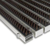 Hnědá hliníková čistící kartáčová venkovní vstupní rohož Alu Super - 60 x 90 x 2,2 cm