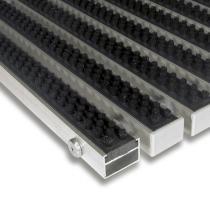 Černá hliníková čistící kartáčová venkovní vstupní rohož Alu Super - 60 x 90 x 2,2 cm