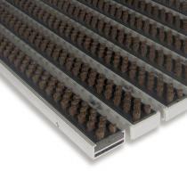 Hnědá hliníková čistící kartáčová venkovní vstupní rohož Alu Super - 60 x 90 x 1,7 cm
