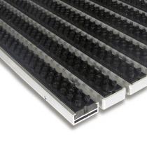 Černá hliníková čistící kartáčová venkovní vstupní rohož Alu Super - 60 x 90 x 1,7 cm
