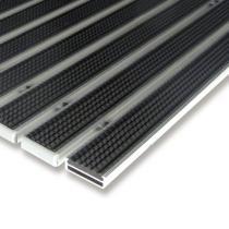 Černá gumová hliníková čistící venkovní vstupní rohož Alu Low - 60 x 90 x 1 cm