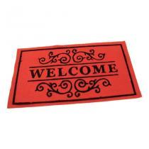 Červená textilní čistící vnitřní vstupní rohož FLOMA Welcome - Deco - délka 33 cm, šířka 58 cm a výška 0,3 cm