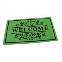 Zelená textilní čistící vnitřní vstupní rohož FLOMA Welcome - Deco - délka 33 cm, šířka 58 cm a výška 0,3 cm