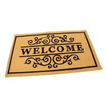 Žlutá textilní čistící vnitřní vstupní rohož FLOMA Welcome - Deco - délka 45 cm, šířka 75 cm a výška 0,3 cm