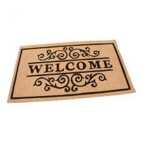Béžová textilní čistící vnitřní vstupní rohož FLOMA Welcome - Deco - délka 45 cm, šířka 75 cm a výška 0,3 cm