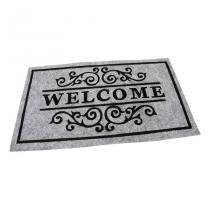 Šedá textilní čistící vnitřní vstupní rohož FLOMA Welcome - Deco - délka 45 cm, šířka 75 cm a výška 0,3 cm