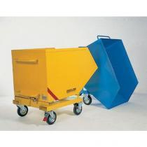 Pojízdný výklopný kontejner se sítem a výpustným kohoutem, s kapsami na vysokozdvižný vozík, objem 400 l, modrý
