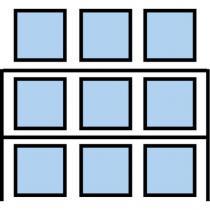 Paletový regál Cell, základní, 336,6 x 270 x 90 cm, 5 200 kg, 2 patra, modrý