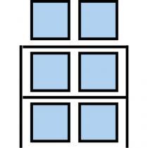 Paletový regál Cell, přístavbový, 336,6 x 180 x 75 cm, 6 000 kg, 2 patra, modrý