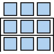 Paletový regál Cell, přístavbový, 336,6 x 270 x 110 cm, 3 200 kg, 2 patra, modrý