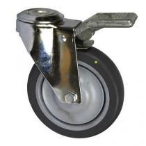 Antistatické gumové přístrojové kolo se středovým otvorem, průměr 125 mm, otočné s brzdou, kuličkové ložisko