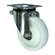 Nylonové transportní kolo s přírubou, průměr 150 mm, otočné, valivé ložisko