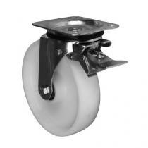 Nylonové transportní kolo s přírubou, průměr 200 mm, otočné s brzdou, valivé ložisko