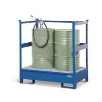 Stanice na nebezpečné látky na sudy 200 l, 2 sudy, lakovaná