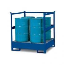 Stanice na nebezpečné látky na sudy 200 l, 4 sudy, lakovaná
