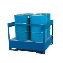 Stanice na nebezpečné látky na sudy 200 l, možnost závory, 4 sudy, lakovaná