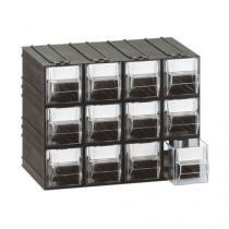 Modulový organizér, 12 zásuvek, černý/transparentní