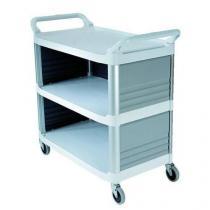 Plastový policový vozík se dvěma madly a bočnicemi, do 135 kg, 3 police s vyvýšenými hranami