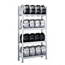 Regál na pneumatiky, základní, 250 x 150 x 30 cm, 4 patra