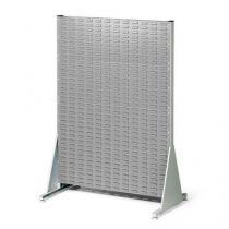 Oboustranný PERFO regál, výška 147 cm, šedý