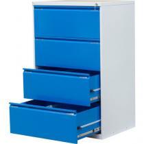 Dvouřadá kovová kartotéka A4 Exe, 4 zásuvky, modrá