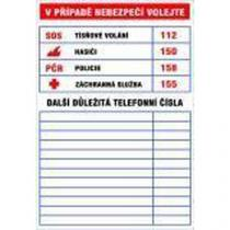 Informační bezpečnostní tabulky - Důležitá telefonní čísla, samolepicí fólie