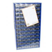 Kovový organizér, 60 zásuvek, modrý