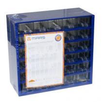 Kovový organizér, 30 zásuvek, modrý