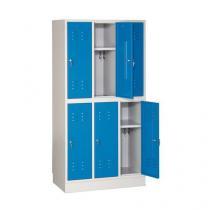 Svařovaná šatní skříň Luis, 6 oddílů, cylindrický zámek, šedá/modrá