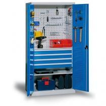 Kovová dílenská skříň se 4 zásuvkami, 195 x 95 x 60 cm, šedá/modrá